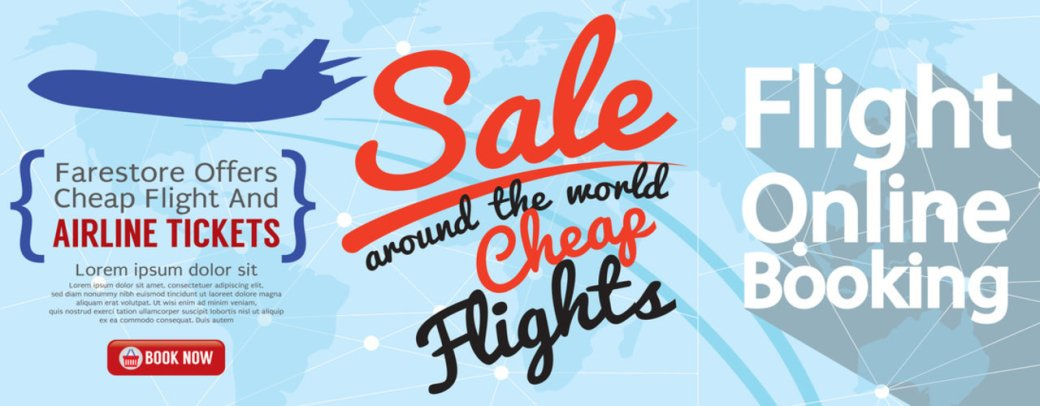 Flight Online Booking For Sale 1500x600 Banner Vector Illustration.